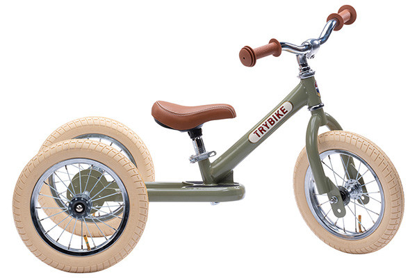 De Trybike Steel retro groen 2-in-1